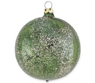 Julekugle i mundblæst glas Ø8 cm - Skinnende mørkegrøn
