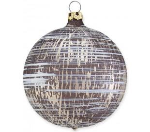 Julekugle i mundblæst glas Ø8 cm - Mat slidt bronzebrun