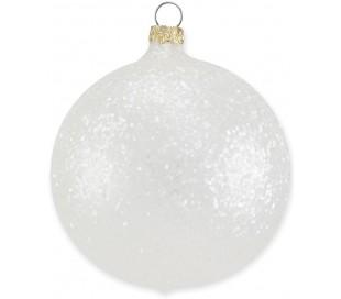 Julekugle i mundblæst glas Ø8 cm - Mat frostet perlegrå