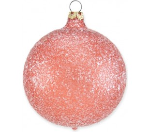 Julekugle i mundblæst glas Ø8 cm - Mat frostet rosenrød