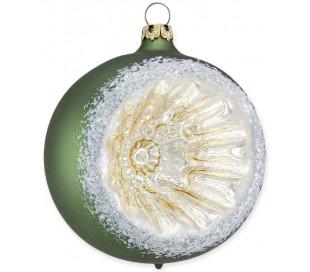 Julekugle i mundblæst glas Ø8 cm - Mat mørkegrøn med reflektor