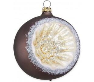 Julekugle i mundblæst glas Ø8 cm - Mat bronzebrun med reflektor