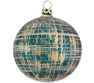 Julekugle i mundblæst glas Ø8 cm - Mat slidt petroliumsblå