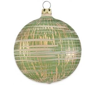 Julekugle i mundblæst glas Ø8 cm - Mat slidt olivengrøn