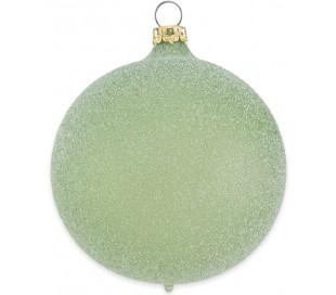 Julekugle i mundblæst glas Ø8 cm - Satineret olivengrøn