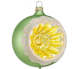 Julekugle i mundblæst glas Ø8 cm - Mat olivengrøn med reflektor