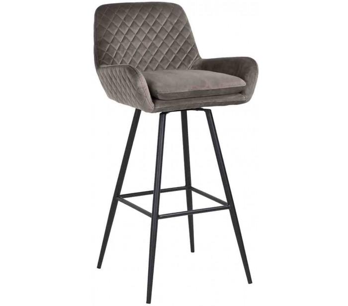 Linsey rotérbar barstol i velour h100 cm - sort/stengrå fra infiniti på lepong.dk