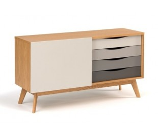 Avon sideboard i retro design - Eg/Grå