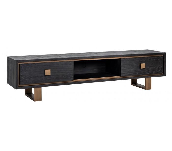 deko light – Hunter tvbord i egetræsfinér og stål b190 cm - sort/antik guld på lepong.dk