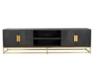 Blackbone tvbord i egetræ og stål B220 cm - Sort/Guld