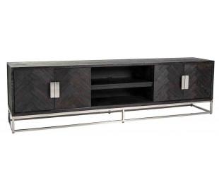 Blackbone tvbord i egetræ og stål B220 cm - Sort/Sølv