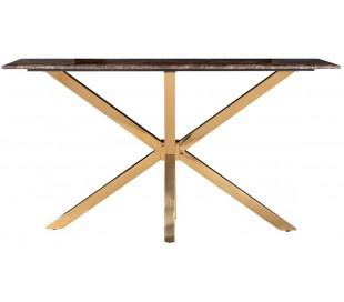 Conrad konsolbord i marmor og stål B150 cm - Guld/Brun marmor