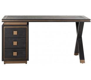 Hunter skrivebord i egetræsfinér 150 x 60 cm - Sort/Antik guld