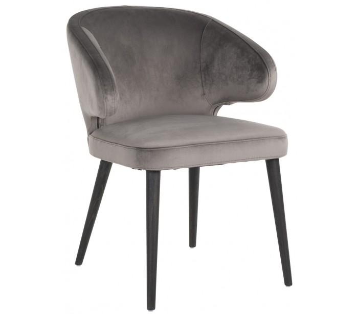 Indigo spisebordsstol i velour H81 cm - Sort/Stengrå