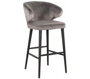 Indigo barstol i velour H106 cm - Sort/Stengrå