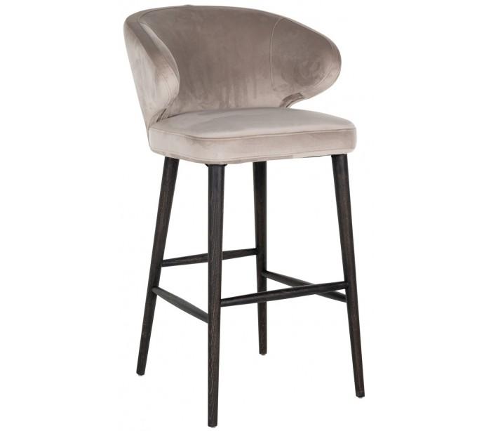 richmond interiors Indigo barstol i velour h106 cm - sort/khaki på lepong.dk
