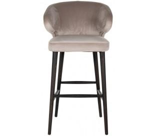 Indigo barstol i velour H106 cm - Sort/Khaki