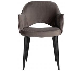 Giovanna spisebordsstol i velour H86 cm - Sort/Stengrå