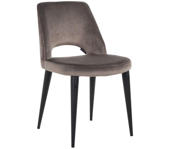 Tabitha spisebordsstol i velour h86 cm - sort/stengrå fra elensen fra lepong.dk