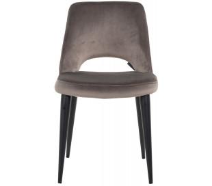 Tabitha spisebordsstol i velour H86 cm - Sort/Stengrå