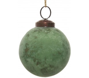 Julekugle i glas Ø8 cm - Oxideret grøn