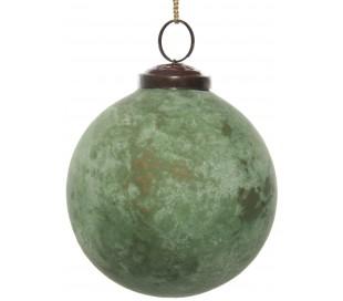 Julekugle i glas Ø10 cm - Oxideret grøn