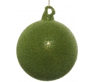 Julekugle i glas Ø10 cm - Skovgrøn
