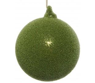 Julekugle i glas Ø8 cm - Skovgrøn