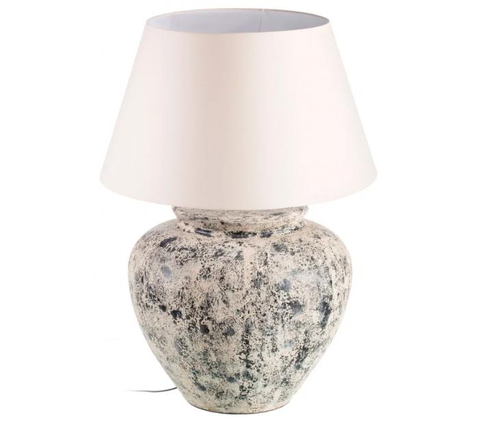 selected by lepong – Bordlampe i cement og tekstil h90 cm 1 x e27 - antik beige/beige på lepong.dk