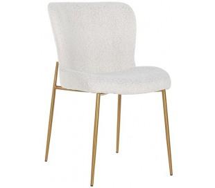 Odessa spisebordsstol i polyester H84,5 cm - Børstet guld/Hvid