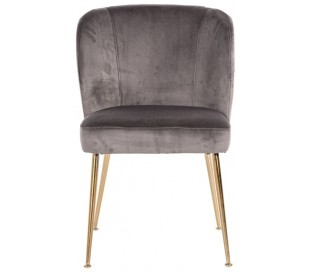 Cannon spisebordsstol i velour H84 cm - Børstet guld/Stengrå