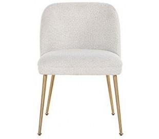Cannon spisebordsstol i polyester H84 cm - Hvid/Børstet guld