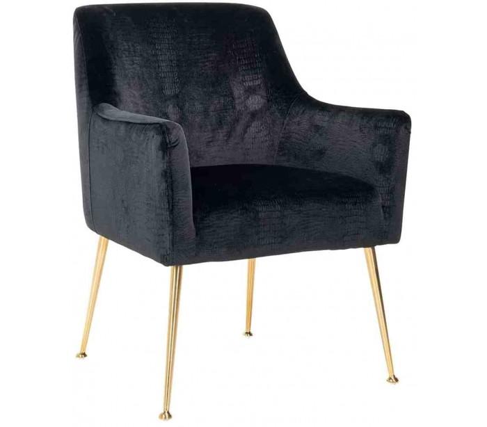 richmond interiors Harper spisebordsstol i velour h87 cm - børstet guld/sort kroko fra lepong.dk
