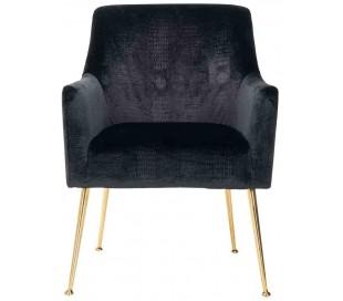 Harper spisebordsstol i velour H87 cm - Børstet guld/Sort kroko
