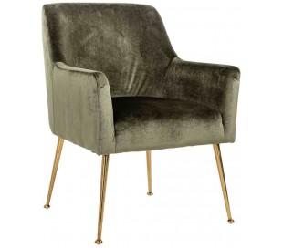 Harper spisebordsstol i velour H87 cm - Børstet guld/Grøn fjer