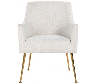 Harper spisebordsstol i polyester H87 cm - Børstet guld/Hvid