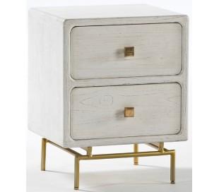 Sengebord i metal og træ H66 x B52 cm - Antik hvid/Antik guld