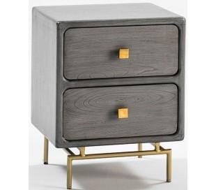 Sengebord i metal og træ H66 x B52 cm - Grå/Antik guld