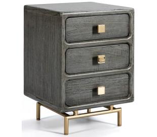 Sengebord i metal og træ H60 x B42 cm - Grå/Antik guld