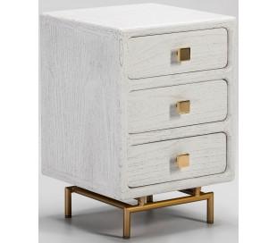 Sengebord i metal og træ H60 x B42 cm - Antik hvid/Antik guld