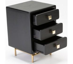 Sengebord i metal og træ H60 x B42 cm - Sort/Antik guld