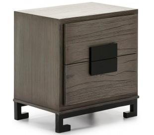Sengebord i træ og metal H60 x B56 cm - Grå/Sort