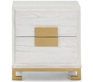 Sengebord i træ og metal H60 x B56 cm - Antik hvid/Guld