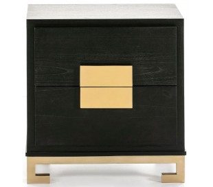 Sengebord i træ og metal H60 x B56 cm - Sort/Guld
