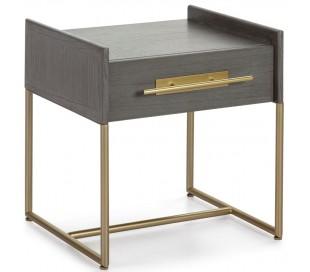 Sengebord i metal og træ H54 x B50 cm - Grå/Antik guld