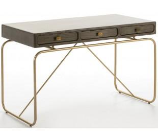Skrivebord med 3 skuffer i metal og træ 120 x 60 cm - Grå/Antik guld