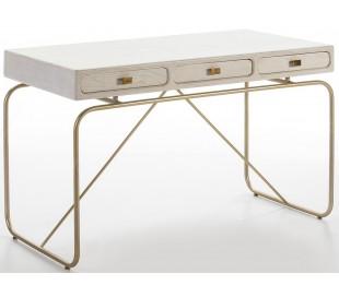 Skrivebord med 3 skuffer i metal og træ 120 x 60 cm - Antik hvid/Antik guld