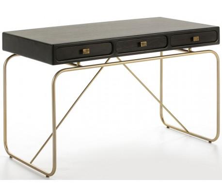 Skrivebord med 3 skuffer i metal og træ 120 x 60 cm - Sort/Antik guld