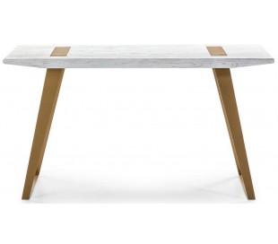 Skrivebord i metal og træ 140 x 60 cm - Antik hvid/Antik guld