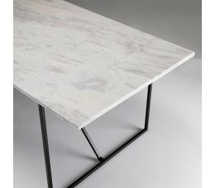 Spisebord i stål og marmor 210 x 90 cm - Sort/Hvid marmor